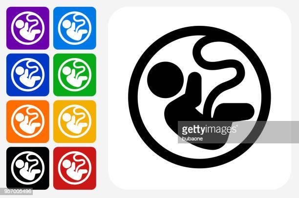fetus icon square button set - human embryo stock illustrations