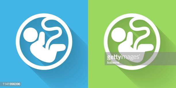 fetus icon with long shadow - human embryo stock illustrations