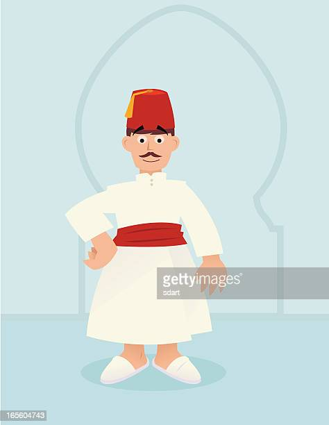 fez - north african ethnicity stock illustrations, clip art, cartoons, & icons