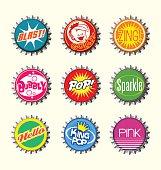 fictional bottle cap set with retro typography designs
