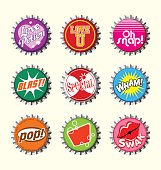 fictional bottle cap set with retro typography designs