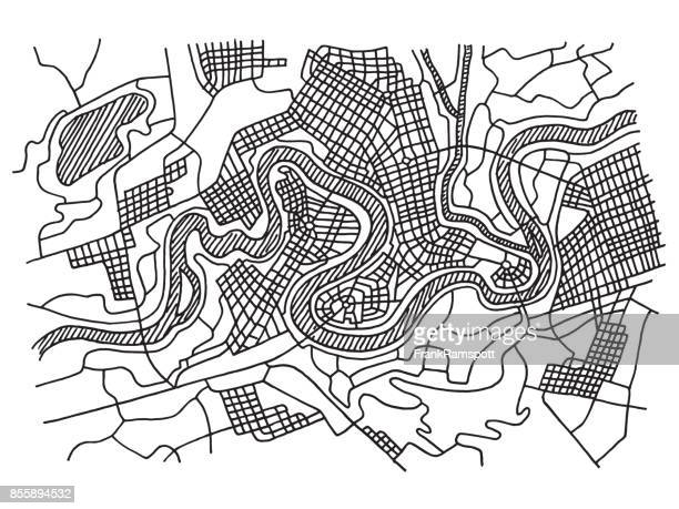 ilustrações, clipart, desenhos animados e ícones de cidade fictícia mapa desenho de contorno - mapa de rua