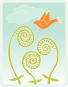 Fiddlehead ferns with bird and clouds