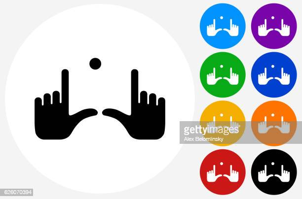 Field Goal Hands Icon on Flat Color Circle Buttons