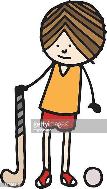 ilustraciones, imágenes clip art, dibujos animados e iconos de stock de campo de hockey niño - hockey sobre hierba
