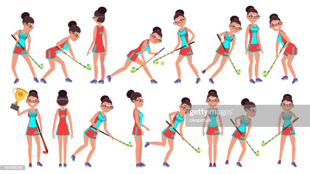 Field Hockey Girl Player Female Vector. Women s Grass Hockey Match. Cartoon Character Illustration