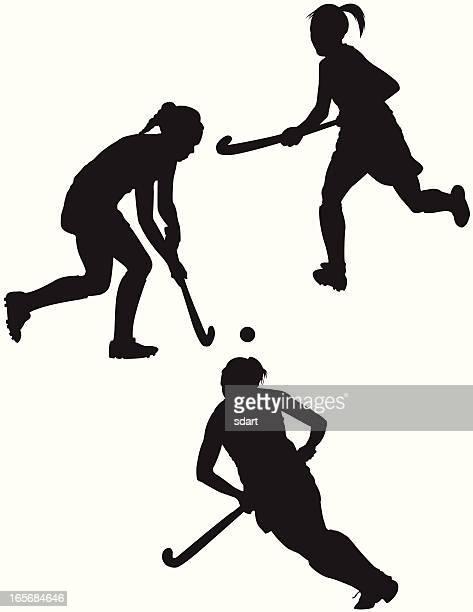 ilustraciones, imágenes clip art, dibujos animados e iconos de stock de reproductores de hockey sobre hierba - hockey sobre hierba
