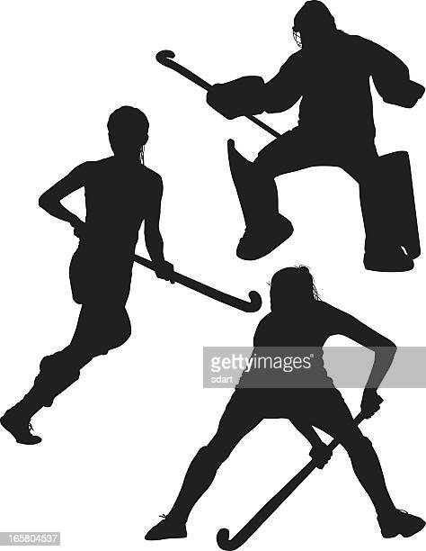 ilustraciones, imágenes clip art, dibujos animados e iconos de stock de siluetas de hockey sobre hierba - hockey sobre hierba