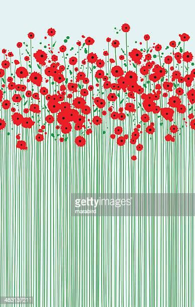 field of fragile scarlet poppies clear blue sky - poppy stock illustrations, clip art, cartoons, & icons