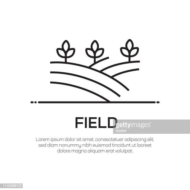 field vector line icon - simple thin line icon, premium quality design element - human settlement stock illustrations