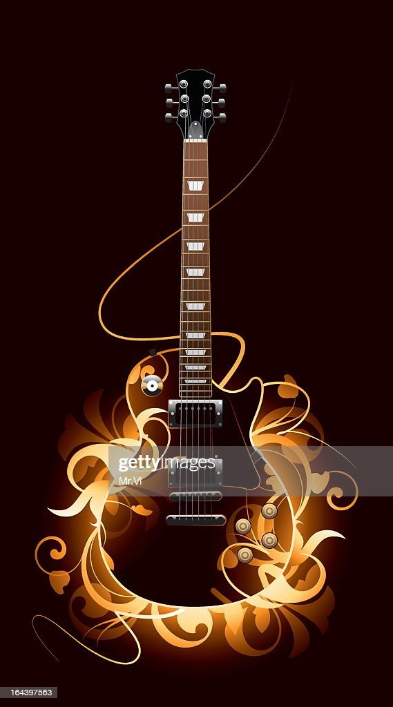 A fierce guitar with burning flames in an abstract picture