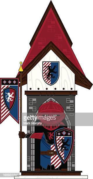 fierce knight at castle guard post - helmet visor stock illustrations, clip art, cartoons, & icons