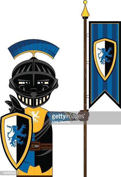 fierce medieval banner knight - helmet visor stock illustrations, clip art, cartoons, & icons