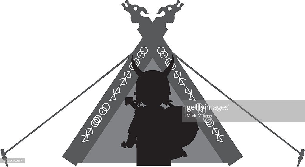 Fierce Viking and Tent Silhouette : stock illustration