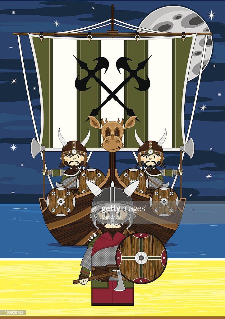 Fierce Viking Warriors Beach Scene : stock illustration