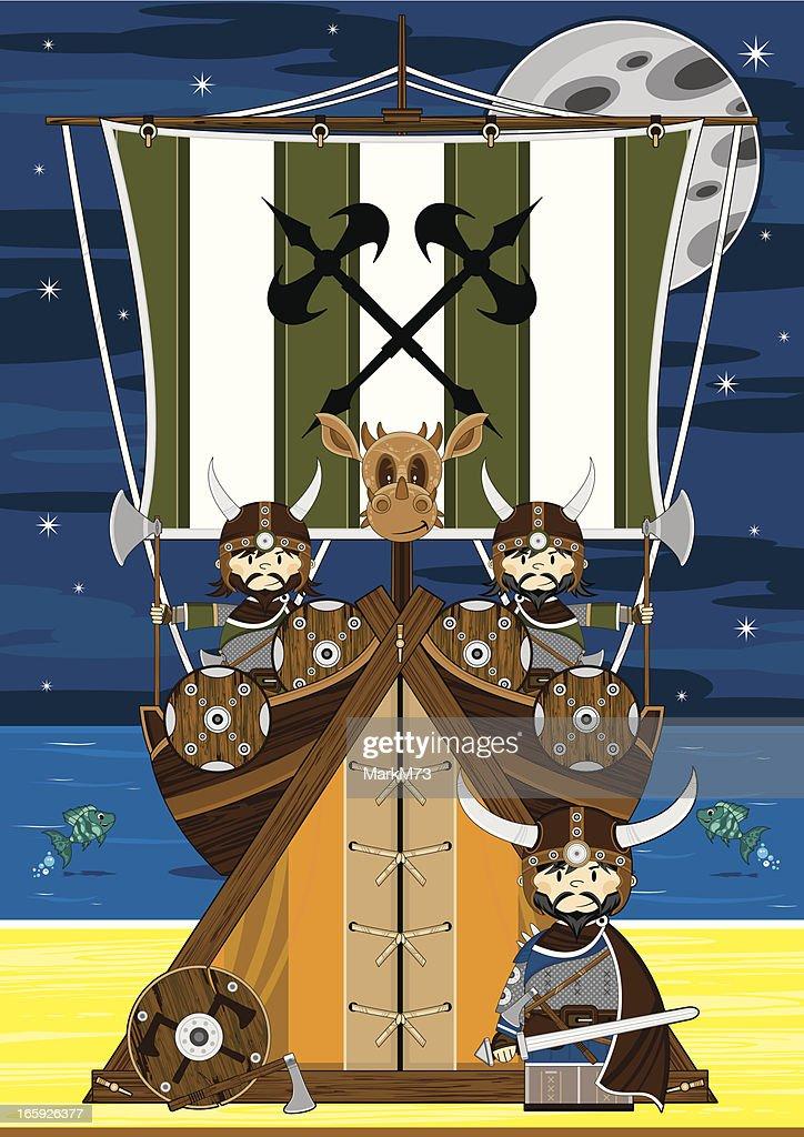 Fierce Viking Warriors Scene : stock illustration