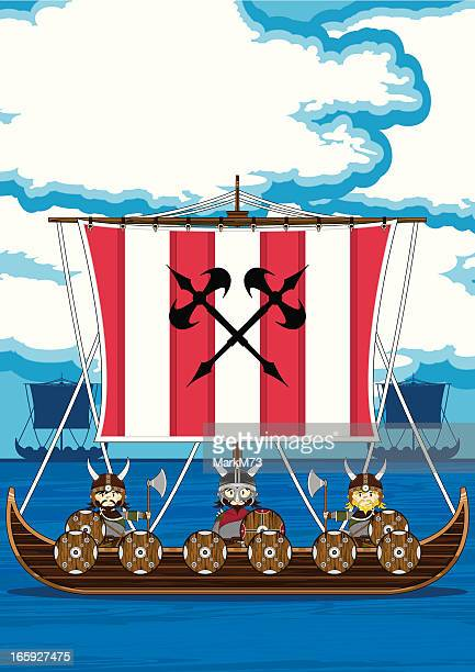 Fierce Vikings on Longship at Sea