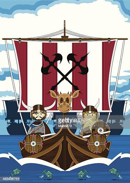 Fierce Vikings on Warship at Sea