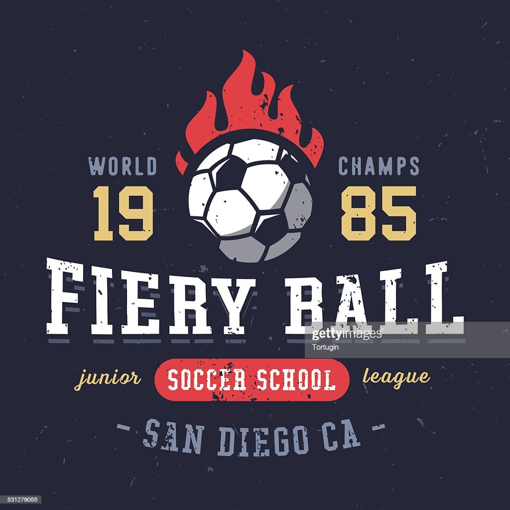 Fiery Ball soccer school textured varsity apparel graphic design