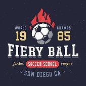 Fiery Ball soccer school textured varsity apparel graphic design