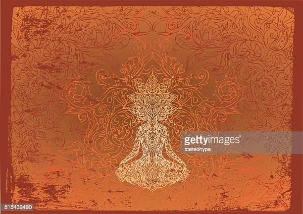 bildbanksillustrationer, clip art samt tecknat material och ikoner med fiery buddha - chakra