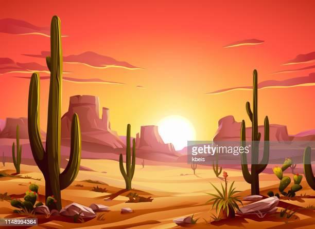 fiery desert sunset - viñeta stock illustrations