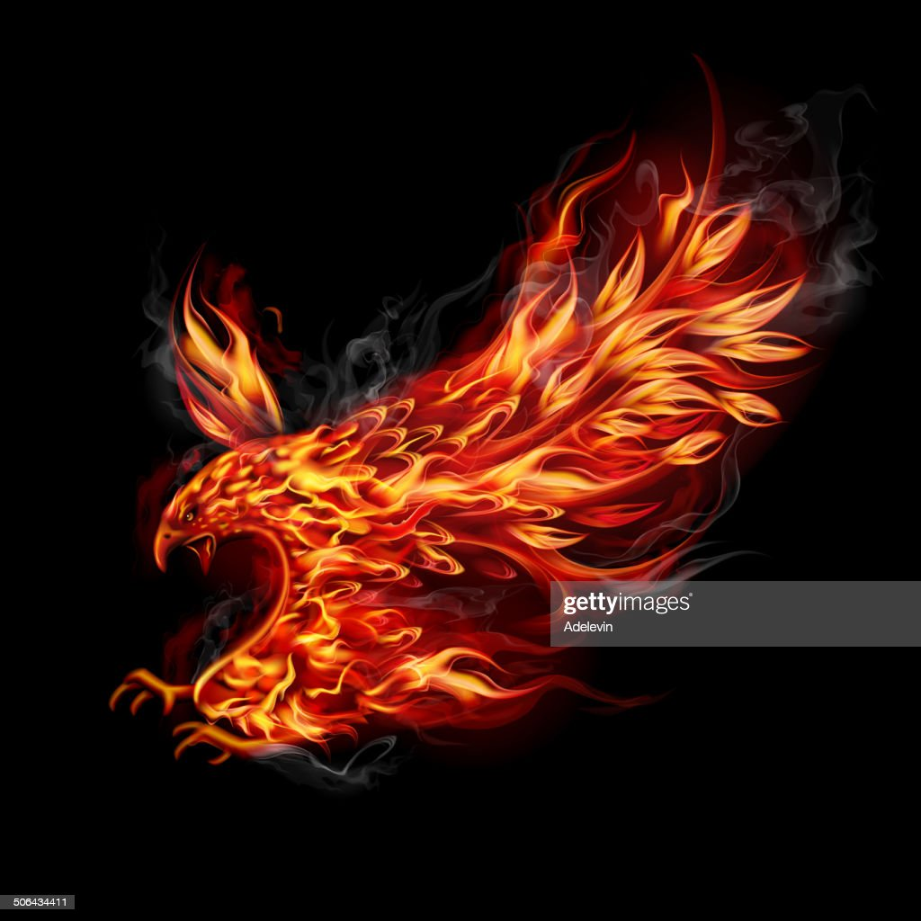 Fiery flying eagle : stock illustration