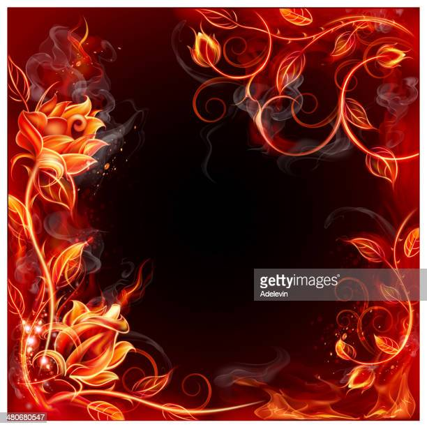 Fiery frame from roses