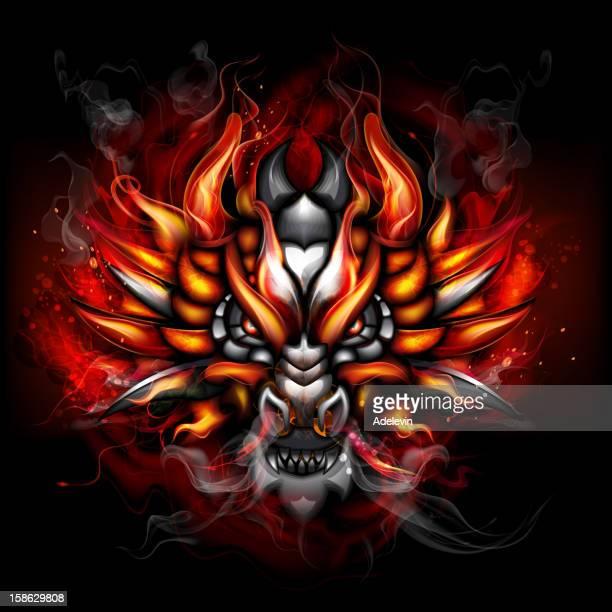 ilustraciones, imágenes clip art, dibujos animados e iconos de stock de ardientes gótica dragon - infierno fuego
