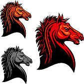 Fiery red wild mustang horse tribal mascot design