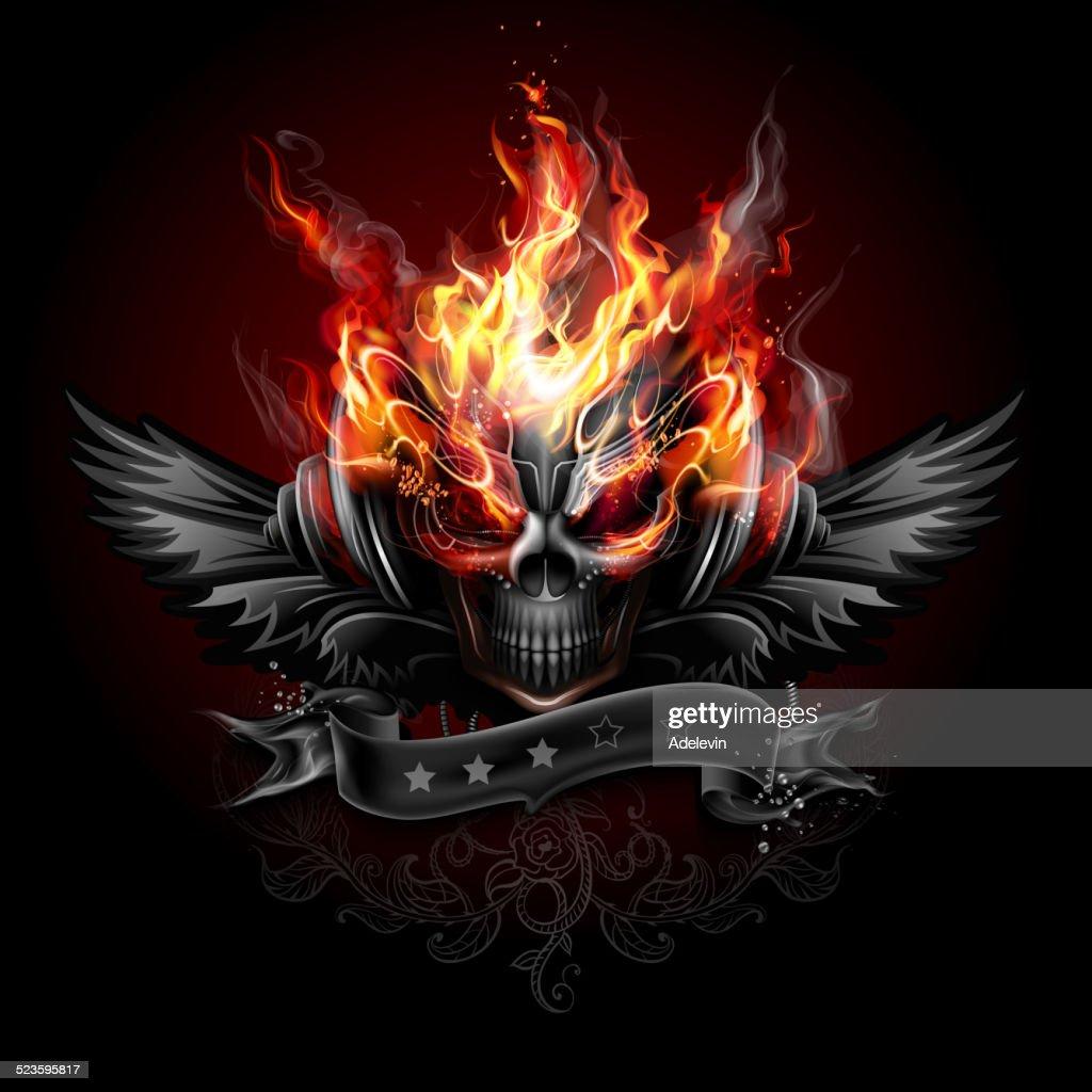 Fiery skull emblem : stock illustration