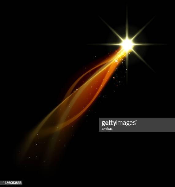 fiery star - light trail stock illustrations