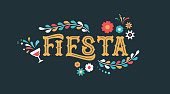 Fiesta banner and poster design with flags, flowers, decorations