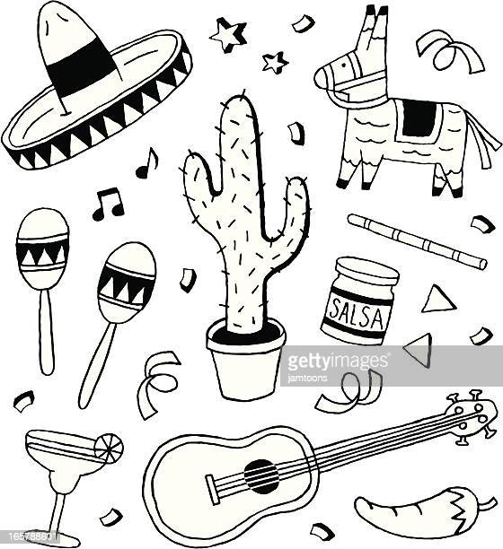 fiesta doodles - sombrero stock illustrations