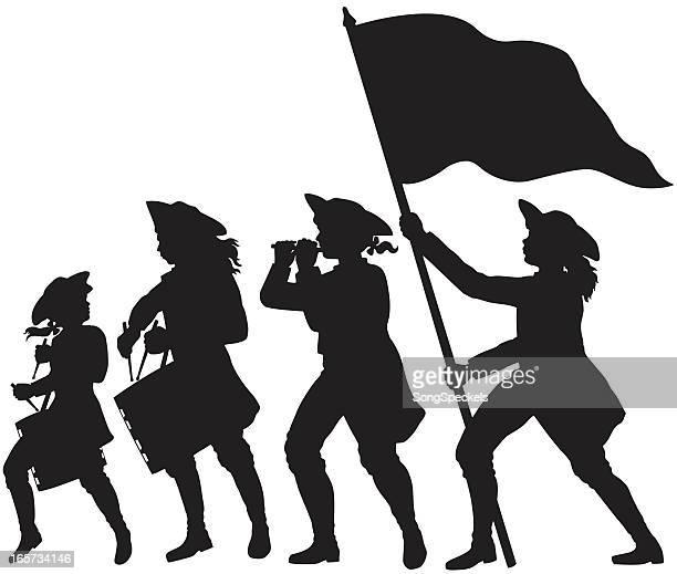 ilustraciones, imágenes clip art, dibujos animados e iconos de stock de fife, tambores y bandera marchando siluetas - american revolution
