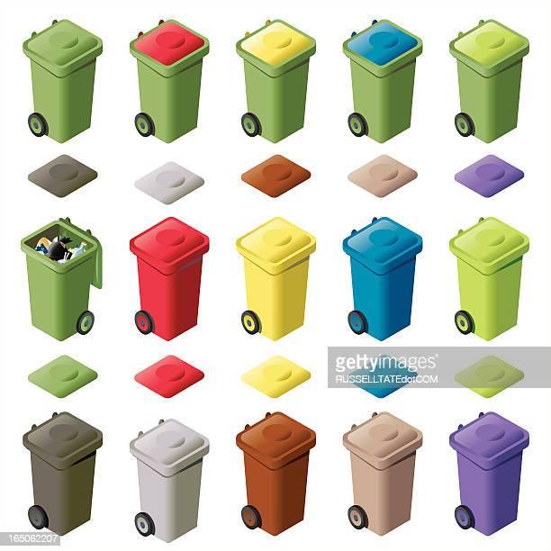 illustrations, cliparts, dessins animés et icônes de quinze couleur wheelie poubelles iso - poubelle