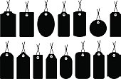 Fifteen different silhouettes of price tags