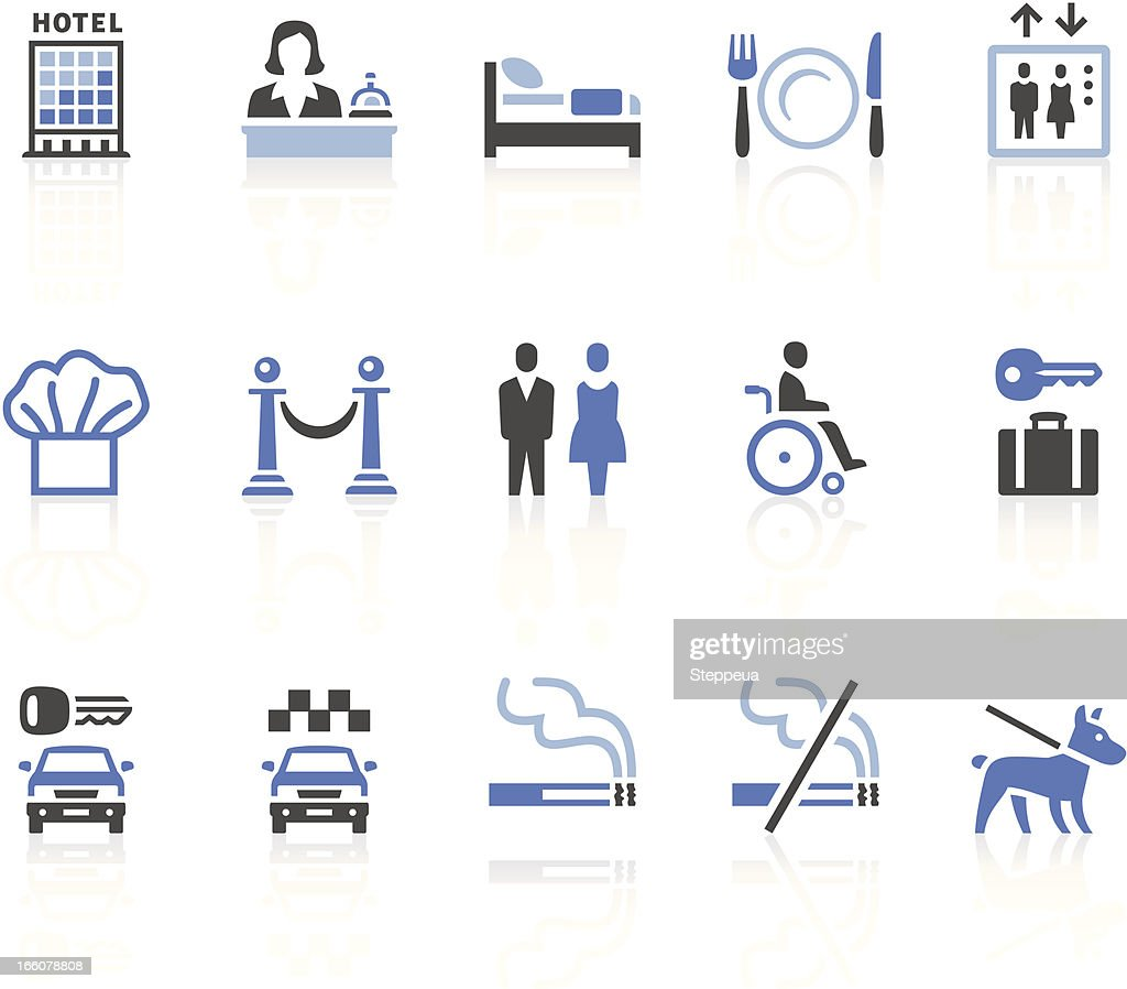 Fifteen graphic illustrations of various hotel icons : stock illustration