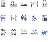 Fifteen graphic illustrations of various hotel icons