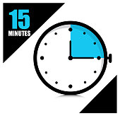Fifteen minutes on the stopwatch .Vector illustration