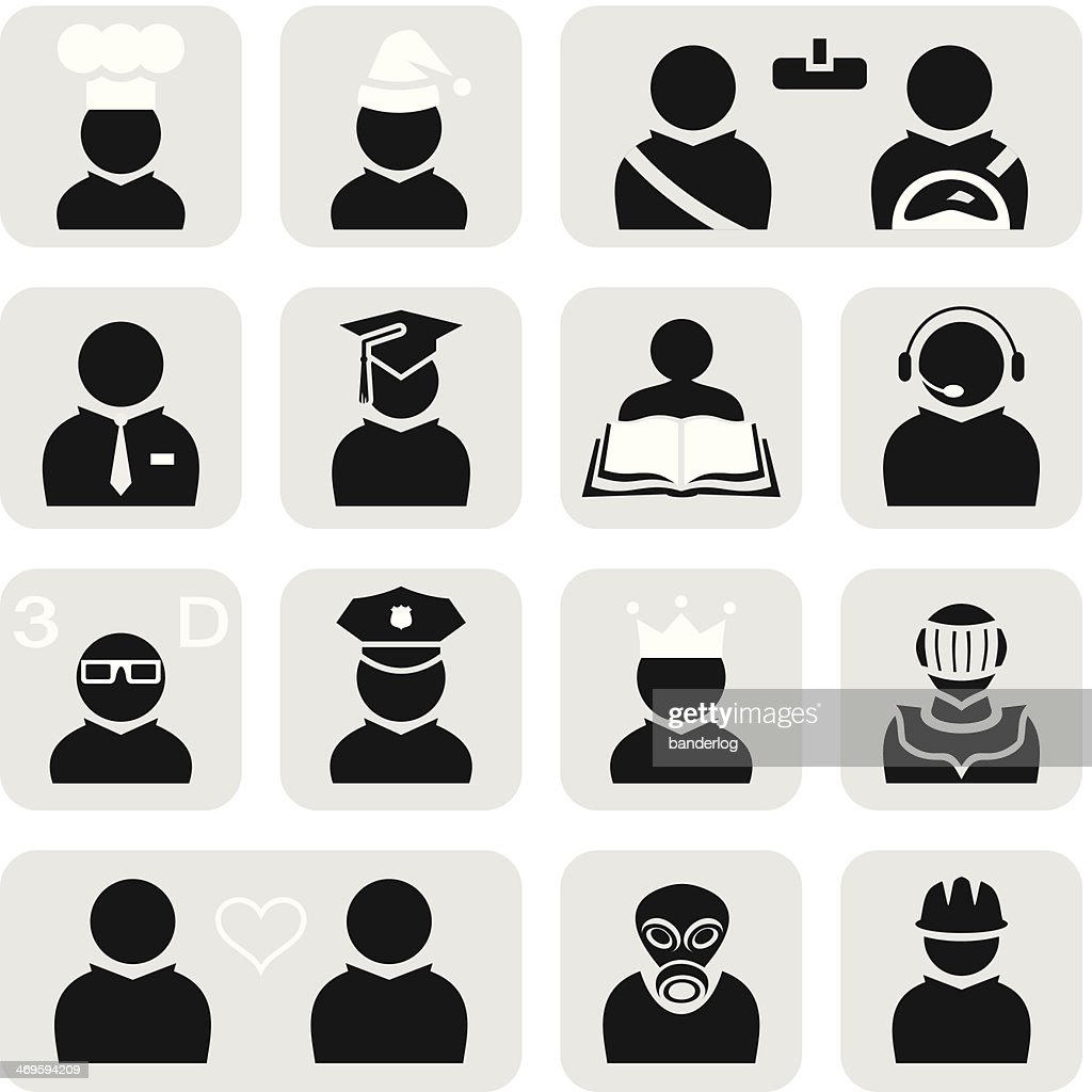 Fifteen simple people based career icons