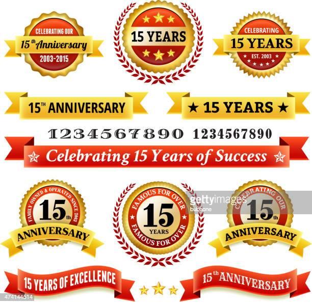 fifteen year anniversary royalty free vector background with golden badges