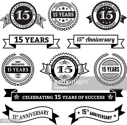 Fifteen Year Anniversary Vector Badge Set Royalty Free Vector