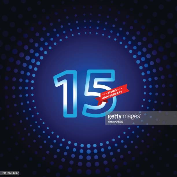 Fifteen years anniversary icon with blue color background