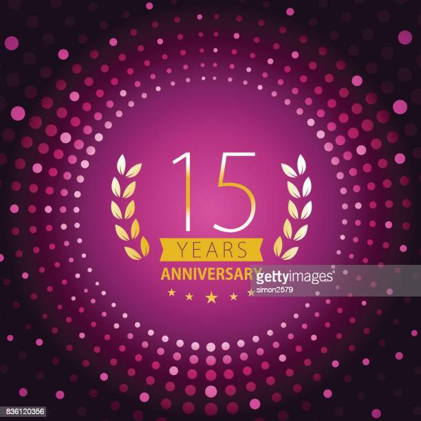 Fifteen years anniversary icon with purple color background