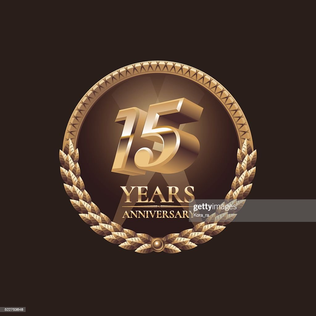 Fifteen years anniversary vector icon. 15th celebration design