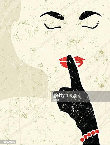 ilustraciones, imágenes clip art, dibujos animados e iconos de stock de años cincuenta hermosa mujer sostiene un dedo en la boca - maquillaje para ojos