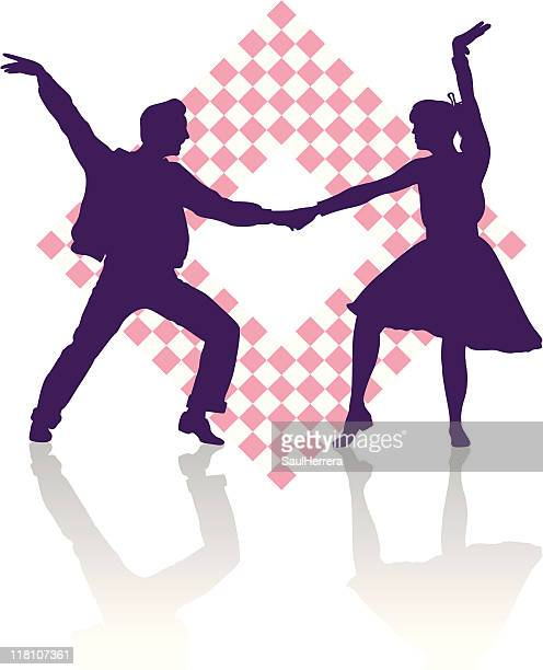 fifties dancers - dancing stock illustrations