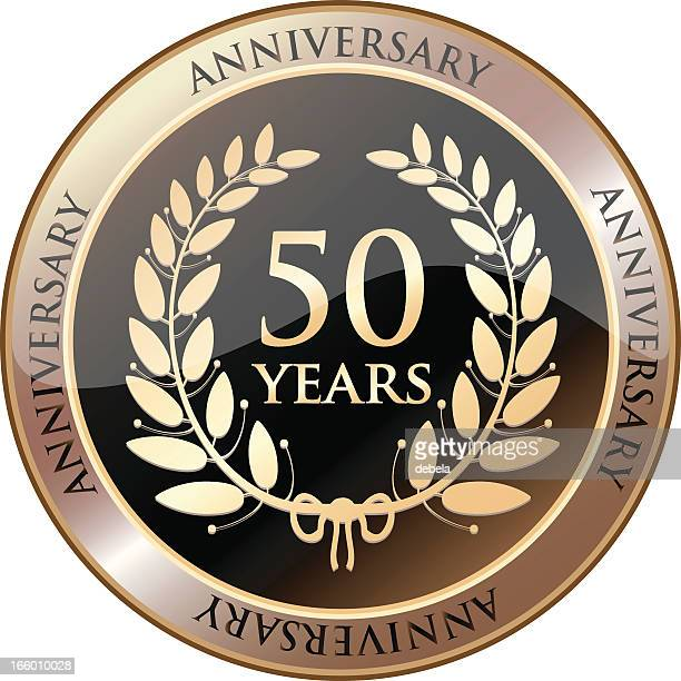 stockillustraties, clipart, cartoons en iconen met fiftieth anniversary celebration shield - 50 jarig jubileum