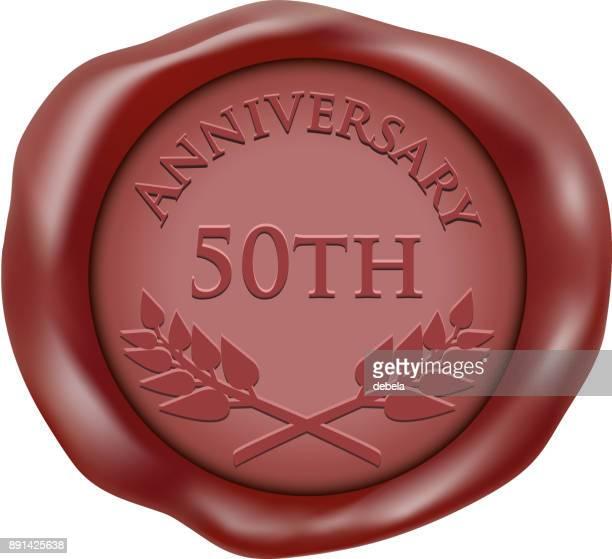 stockillustraties, clipart, cartoons en iconen met vijftigste verjaardag wax seal pictogram - 50 jarig jubileum